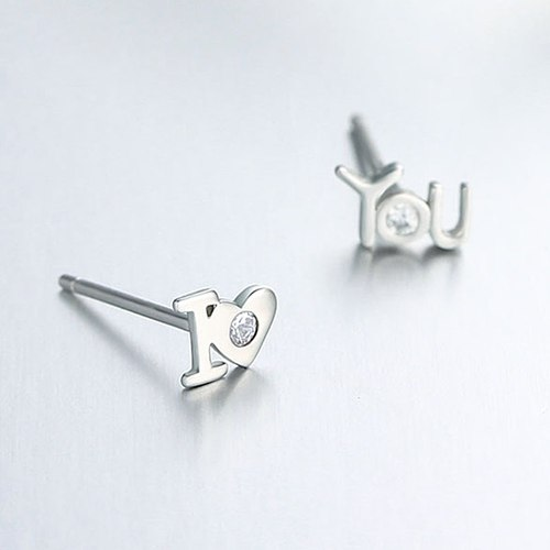 925 sterling silver cz letter stud earrings