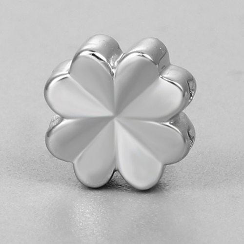 925 sterling silver bigger flower-leaf clover slider beads