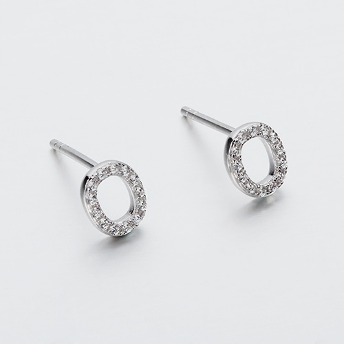 925 sterling silver cz zero stud earrings