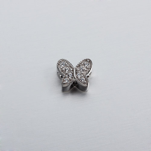 925 sterling silver cz butterfly beads