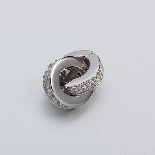 925 sterling silver cz interlocked rings clasps