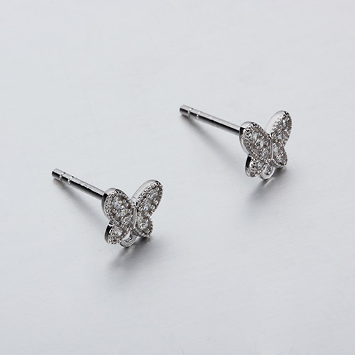 925 sterling silver cz butterfly stud earrings