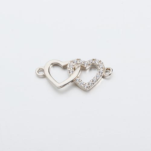 925 sterling silver cz interlocked hearts charm