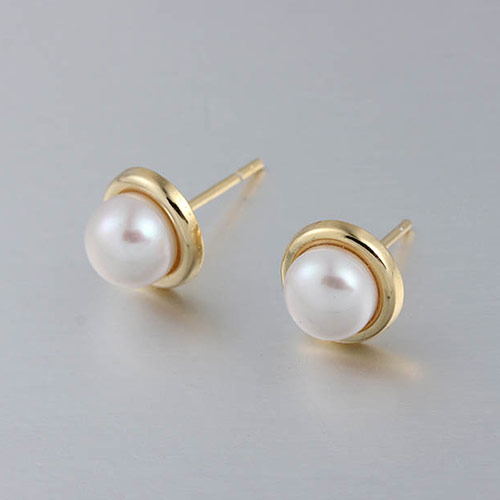 925 sterling silver round pearl earring mounting