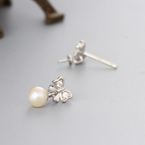 925 sterling silver bowknot pearl earring mountings