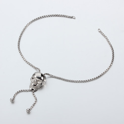 925 sterling silver skull adjustable bracelet