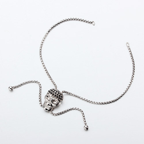 925 sterling silver cz skull adjustable bracelet
