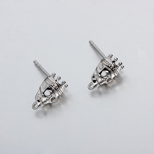925 sterling silver skull stud earrings with ring