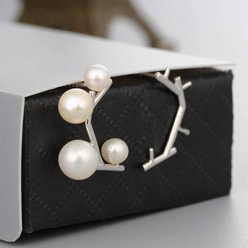 925 sterling silver four pearls earrings findings