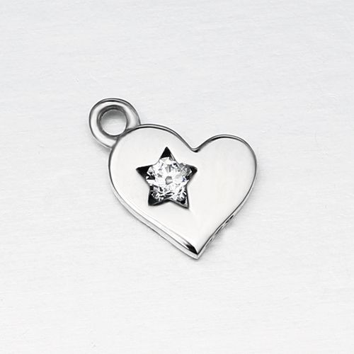 925 sterling silver cz star in heart charm