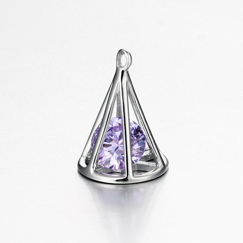 925 sterling silver cz cone charm