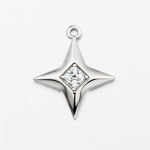 925 sterling silver cz four-pointed star charm