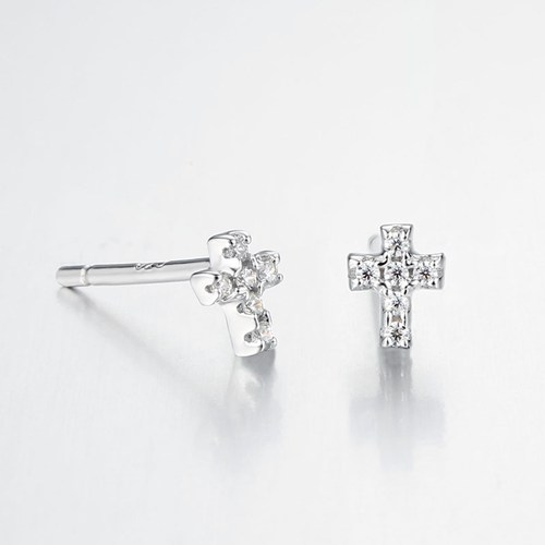 925 sterling silver cz cross stud earrings