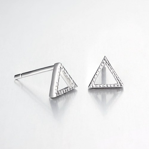 925 sterling silver hollow triangle stud earrings