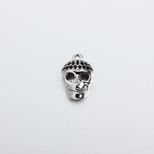 925 sterling silver 3d cz skull charm