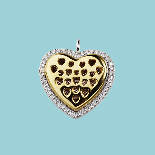 925 sterling silver cz heart diffuser locket