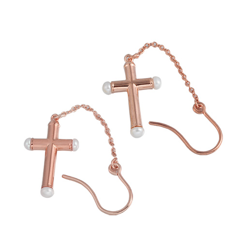 925 sterling silver cross pearl drop earrings