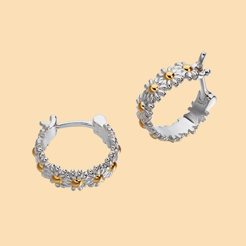 925 sterling silver daisy hoop earrings