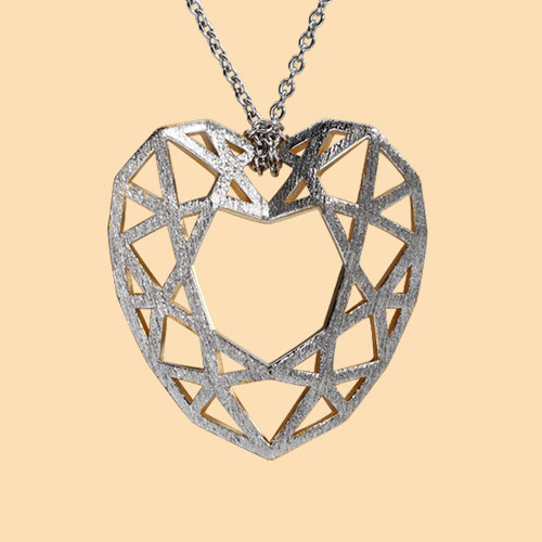 925 sterling silver two-tone hollow heart pendant