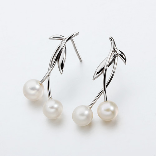 925 sterling silver double pearls cherry earrings
