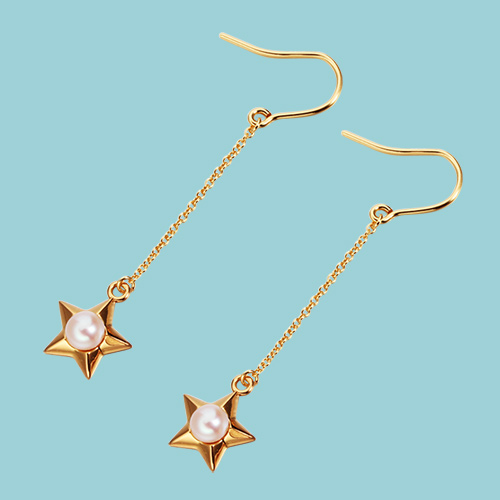 925 sterling silver pearl star drop earrings