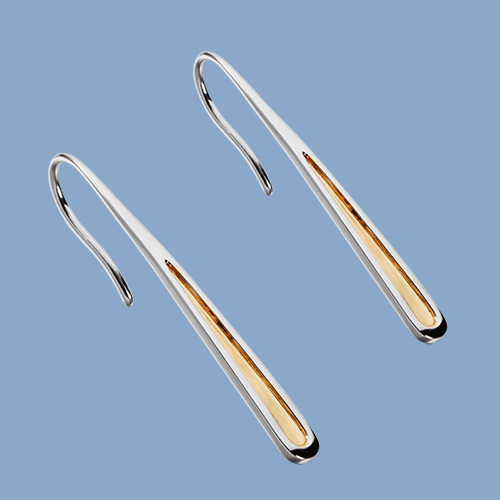 Two-tone 925 sterling silver minimalist hook earrings