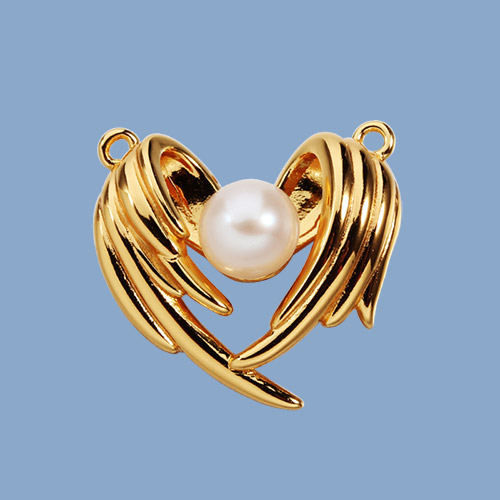 Bigger 925 sterling silver pearl wings charms --20mm