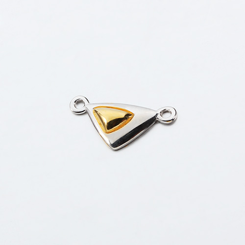 Two-tone 925 sterling silver triangle connector charms