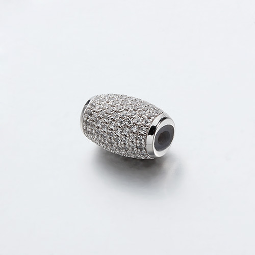925 sterling silver cz pave oval slider beads