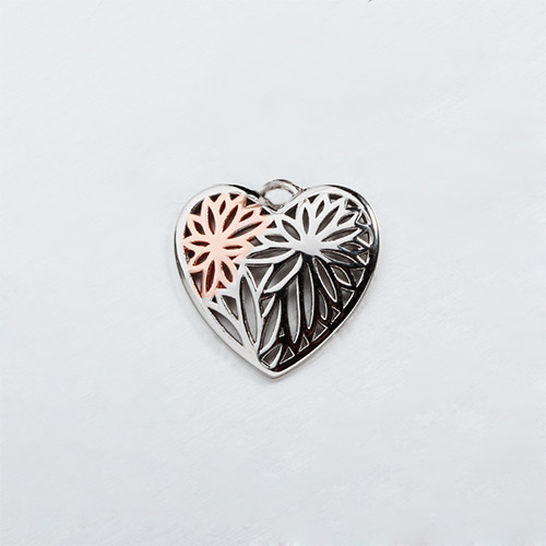 Two-tone 925 sterling silver hollow heart charms
