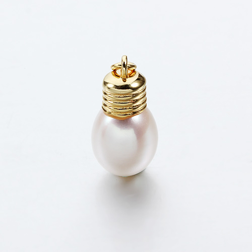 Sterling silver luster pearl light bulb charms wholesale