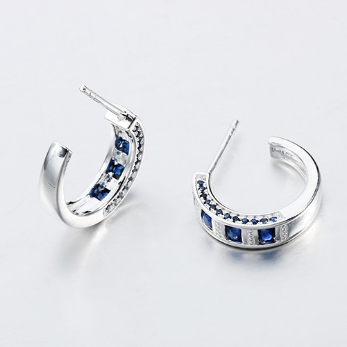 925 sterling silver gemstone hoop earrings