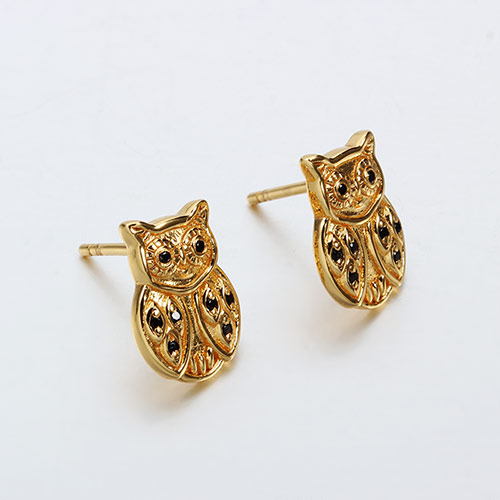 925 sterling silver gemstone owl earrings