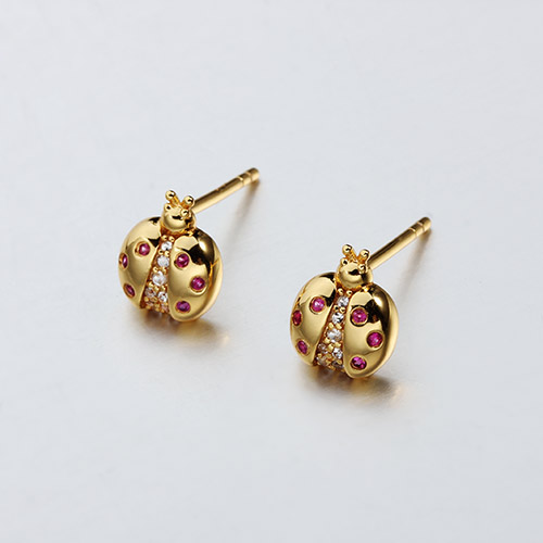925 sterling silver gemstone ladybug earrings