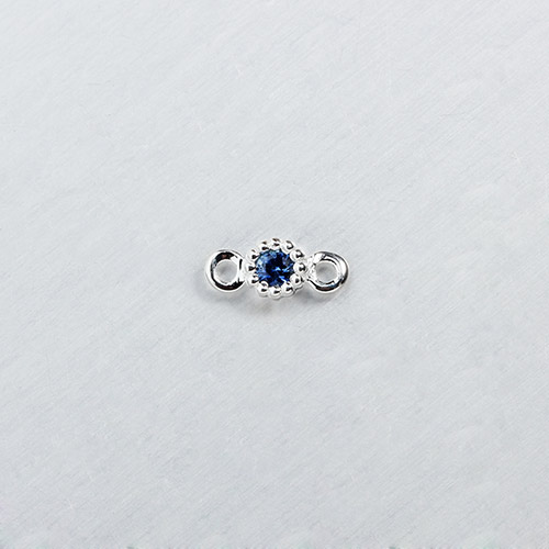 925 sterling silver gemstone round connector charm --3mm