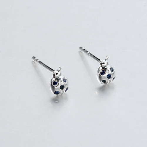 925 sterling silver gemstone ladybug stud earrings