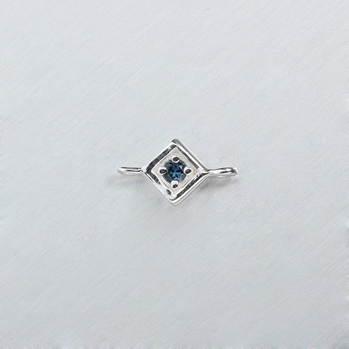 925 sterling silver gemstone diamond connectors -5.5mm