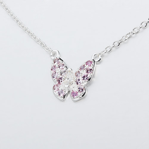 925 sterling silver gemstone butterfly necklaces