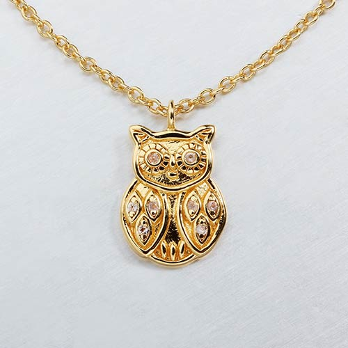 925 sterling silver gemstone owl necklace