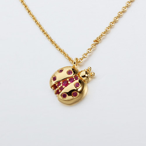 925 sterling silver gemstone ladybug necklace