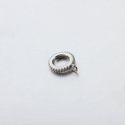 925 sterling silver wheel flat beads with ring -5.7mm hole