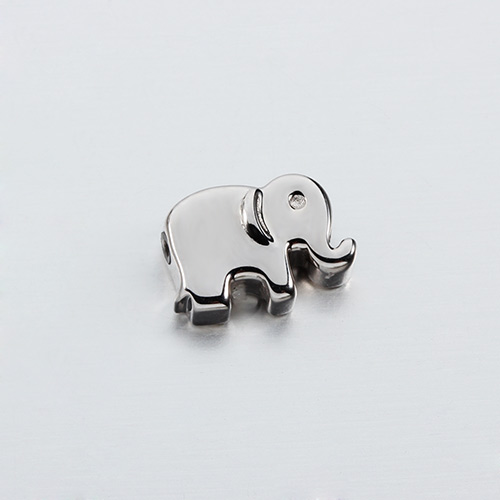 925 sterling silver cz elephant slider beads