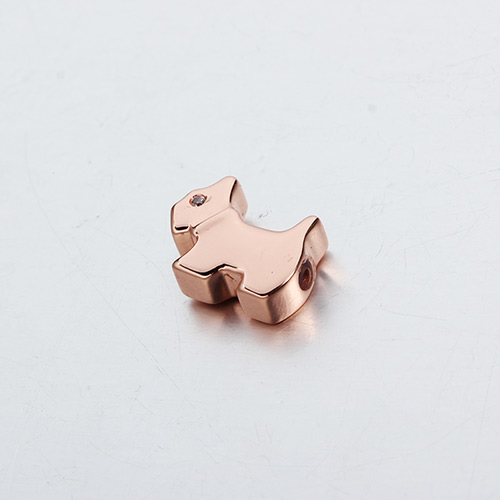 925 sterling silver cz dog slider beads