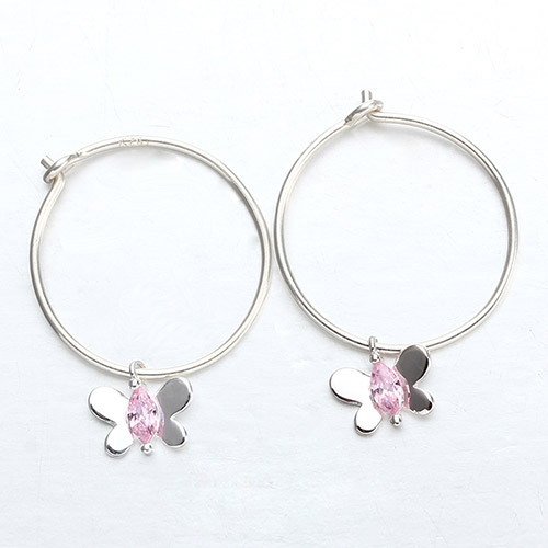 925 sterling silver butterfly minimalist hoop earrings