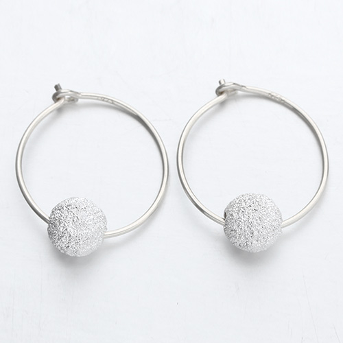 925 sterling silver minimalist stardust ball hoop earrings