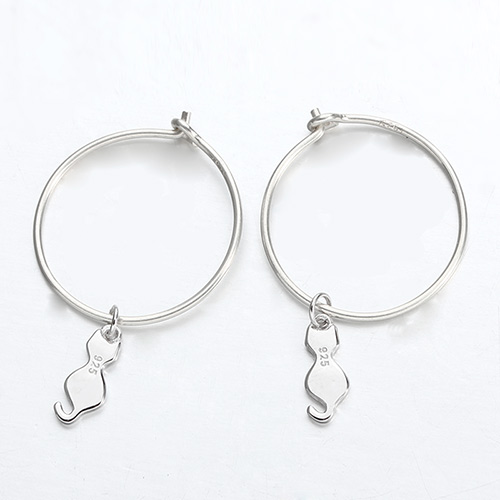 925 sterling silver cat minimalist hoop earrings
