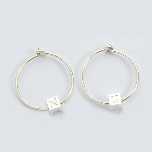 925 sterling silver letter minimalist hoop earrings