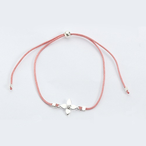 925 sterling silver flower adjustable cord bracelet