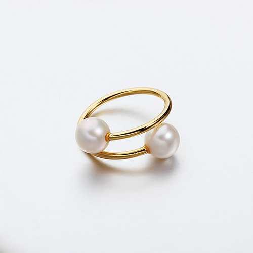 925 sterling silver round pearl adjustable rings