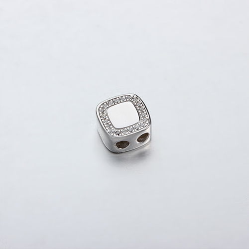 925 sterling silver cz square silicone stopper beads
